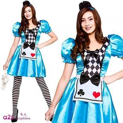 Damen Alice im Wunderland Kostüm Erwachsene Karneval Halloween Verrücktes Kleid