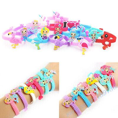 2/10PC Unicorn Mermaid Flamingo Dinosaur Bracelet Wristband Kids Gift Supply (Unicorn Bracelet)