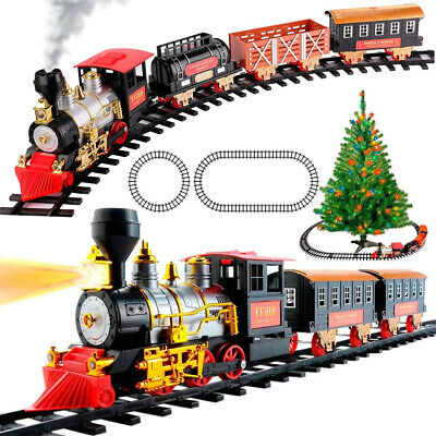 Large Classic Christmas Train Set With Smoke Lights & Sounds For Children Gift
