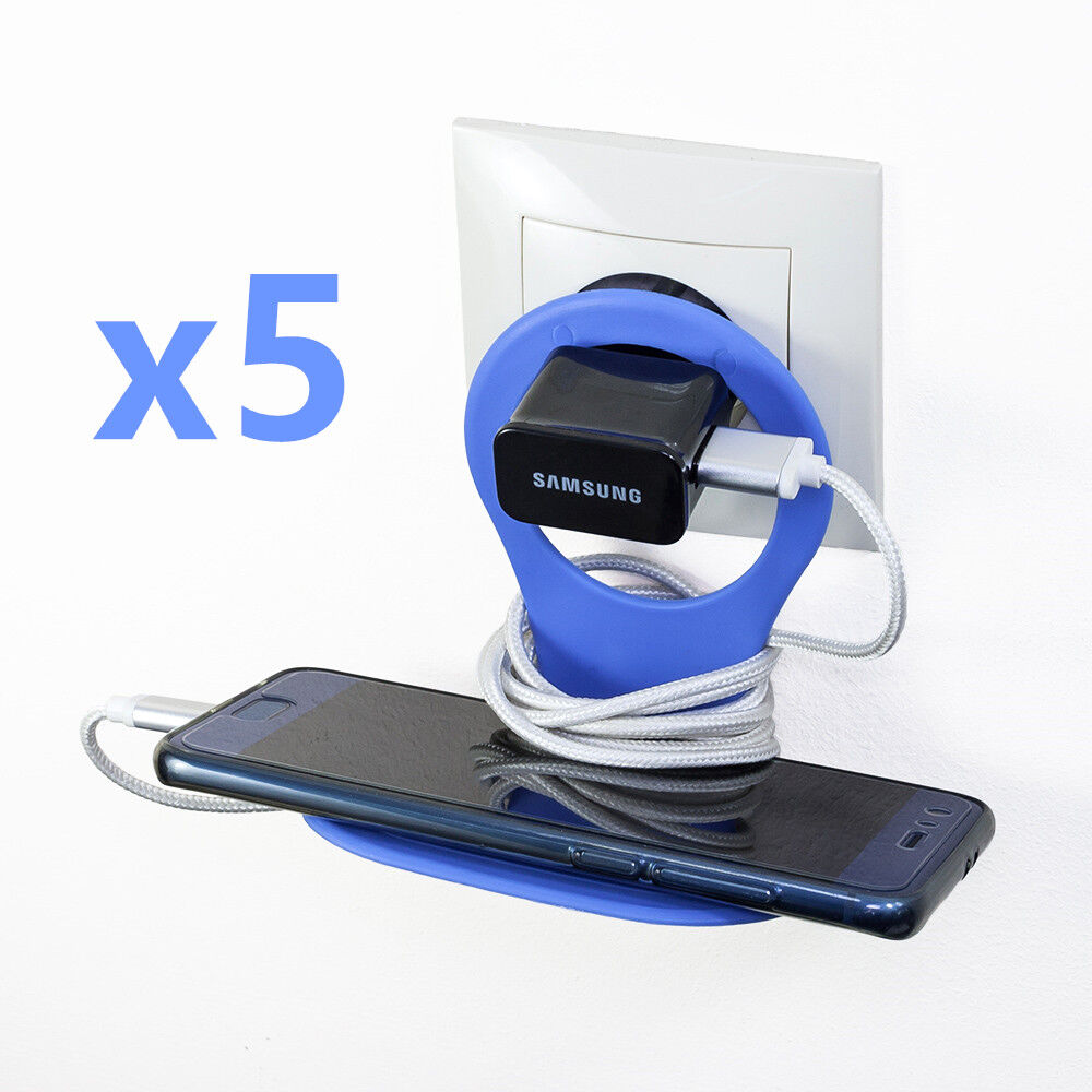 [Lot de 5] Support Mural Prise Secteur pour Smartphone iPhone Huawei Samsung