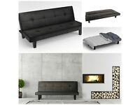 Black Faux Leather Click Clack Fold Down Sofa Bed