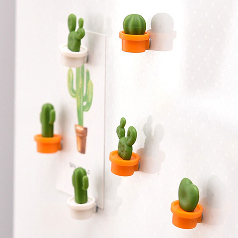 6PCs/Set Mini Fridge Magnets Cute Cactus Refrigerator Magnet