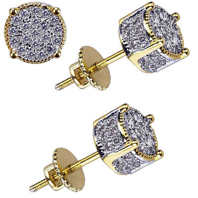 Pair Mens Gold Plated Two Tone Cz Micropave Earring Stud Round Hip Hop HOT SALE Gold Plated Round Stud
