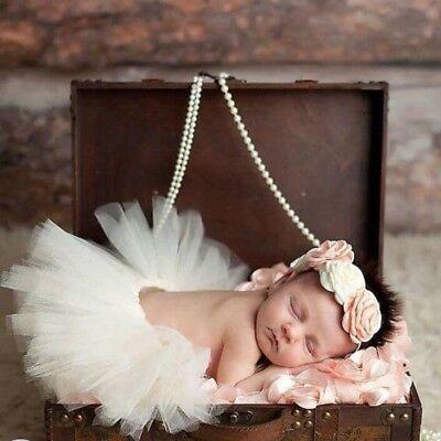 Baby Tütü Tüll Rock Stirnband Kostüm Neugeborenen Foto Shooting CREME Mädchen 56