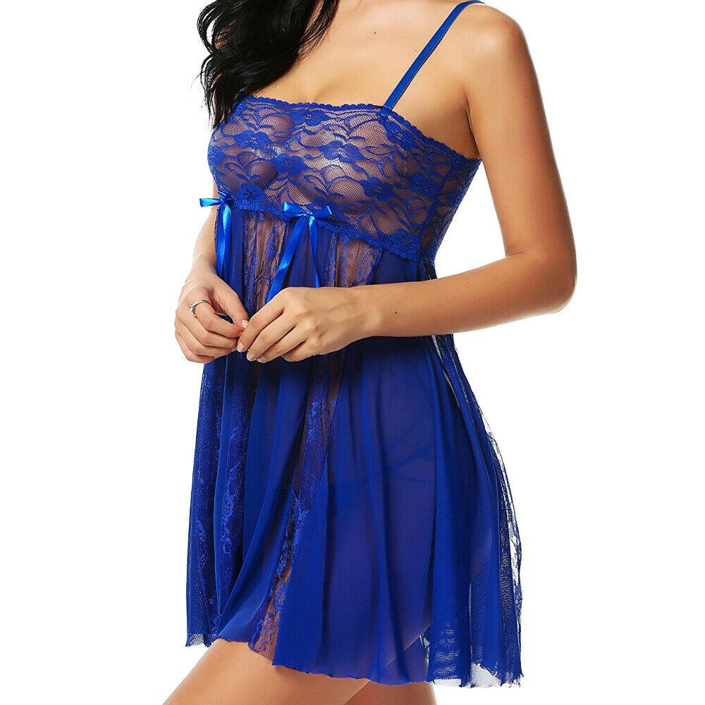 Women's-Sexy-Lingerie-Sleepwear-Lace-Chemise-Honeymoon-Babydoll-Nightwear-Dress Clothing, Shoes & Accessories