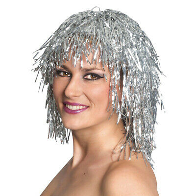 3Pcs Gold White Red Color Metallic Foil Party Tinsel Wig Fancy Shiny Costume - Gold Tinsel Wig