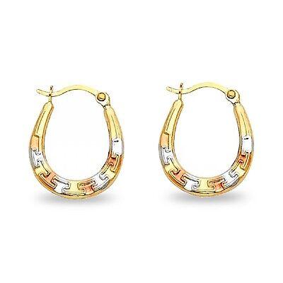 Oval Greek Hoop Earrings 14k Yellow White Rose Gold Hollow Drop Diamond Cut