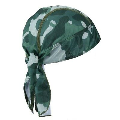 Moisture Wicking Green Jungle Camo Stretch Headwrap Biker Durag Skull Cap Hat