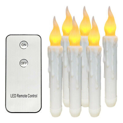 6PCS  Remote Control Homemory Battery Operated Flameless LED Taper Candles Ligh