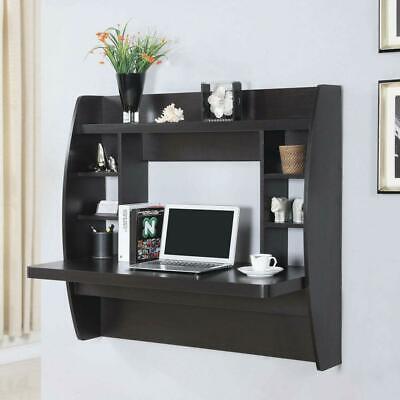 Wall Mounted Floating Office Computer Desk Storage Shelf Home Furniture Black