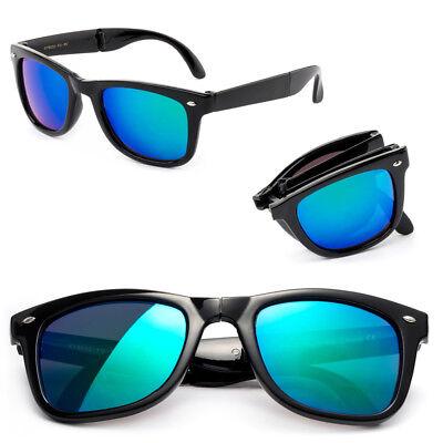 Bendable Sunglasses Horned Rim Fold-able Frame Gradient or Flash Mirror Lens (Foldable Sunglasses Cheap)