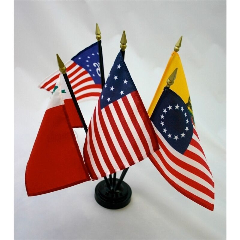 """Colonial Series #1 Miniature 5 Flag Historical Desk Flag Set with Base 4"""" X 6"""""""