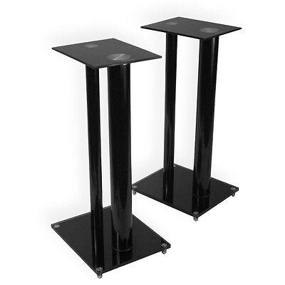 2x Lautsprecherständer V2L-Black Extra Hoch - Glas Alu Säule Podest Boxen Stativ