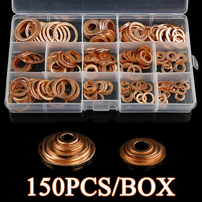 Copper Washers Solid Copper Sump Plug Assorted Garage Engine Washer Set 150 Pcs