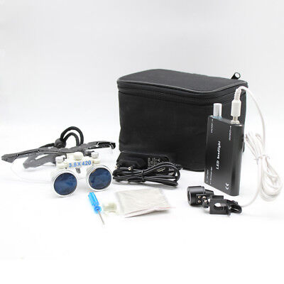 Dental Surgical Binocular Medical Loupes 3.5x 420mm Magnifierled Head Light Ups