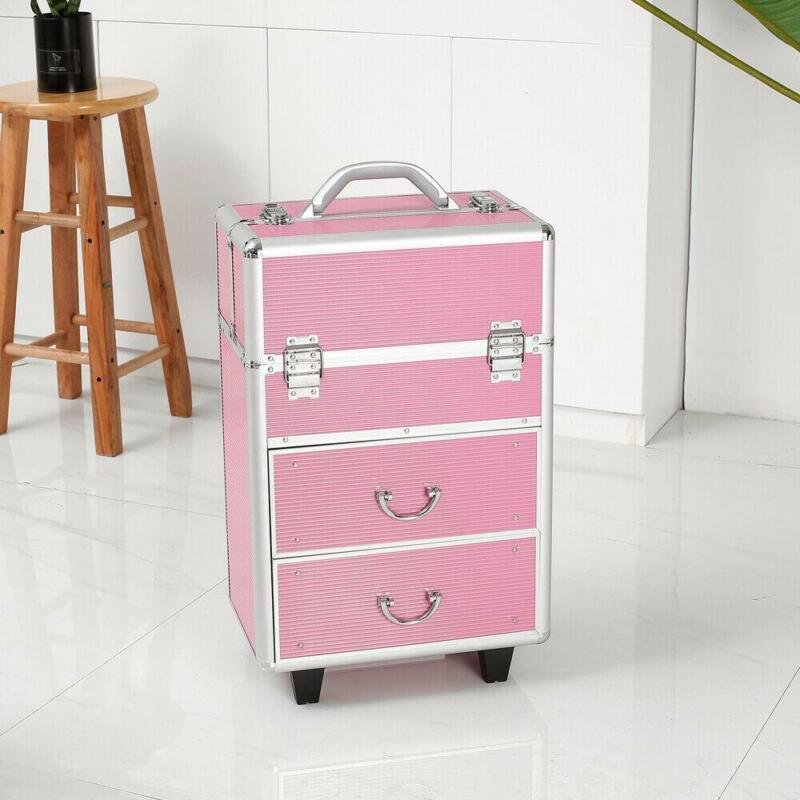 Rolling Extendable Makeup Case Cosmetic Train Box Trolley Large Storage Space