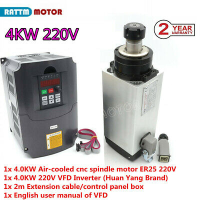 4kw Er25 Air-cooled Spindle 220v Milling W Hy Frequency Variable Inverter Vfd