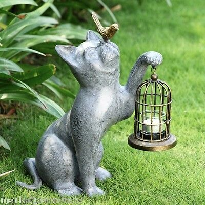 Night Of Discovery Cat Bird Cage Garden Lantern Sculpture Statue Candleholder