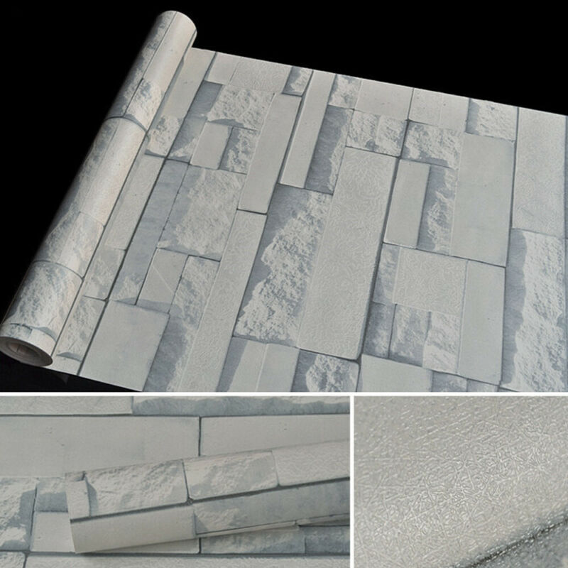 33ft Self Adhesive Wallpaper Roll 3D Stone Pattern Waterproof PVC Wall Paper