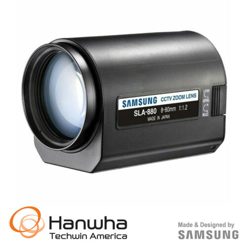 Samsung Techwin SLA-880 C-mount Motorized Zoom Lens / 8 to 80mm / 10x Zoom