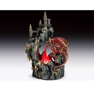 Dragon with Castle With Led Light Figurine