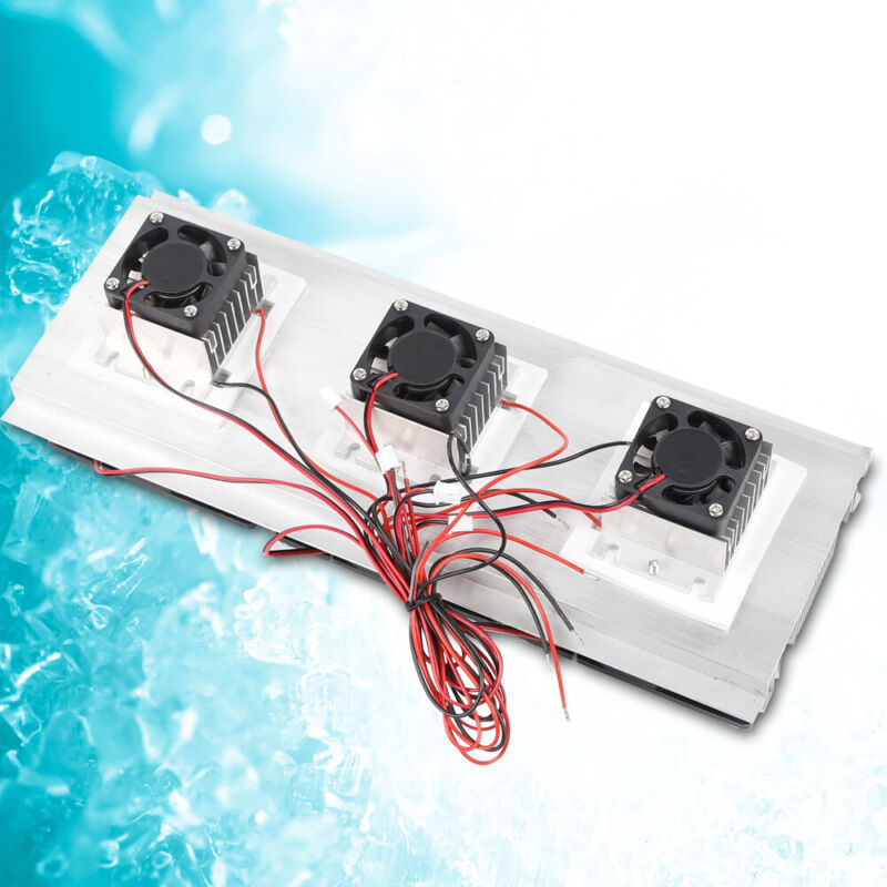 12V 3-Chip Core Semiconductor Refrigerator Cooling Fan Kit Air Cooling Device