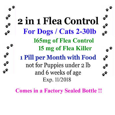 2In1 Flea Killer   Control In One Pill 6 Mo For Dogs Cats 2 30 Lb Factory Sealed