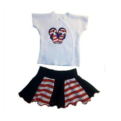 Baby Girls Flip Flop Newborn and Preemie Shirt and Skirt 2 Piece Clothing Set.