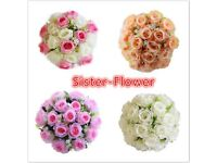 18Head 15'' Artificial Silk Roses Flowers Bridal Bouquet Posy Home Wedding Decor