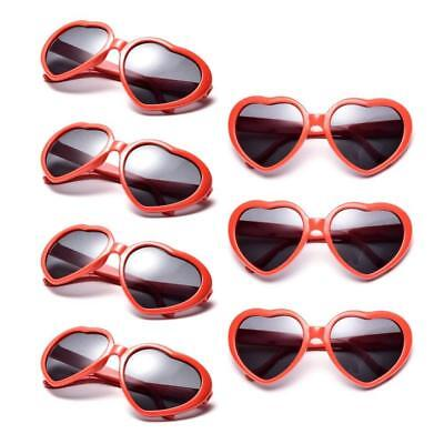 Neon Colors Party Favor Supplies Wholesale Heart Sunglasses (7 Pack Red)