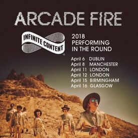 **FACE VALUE** 4x Arcade Fire standing tickets, Genting Arena Birmingham, Sunday 15th April 2018