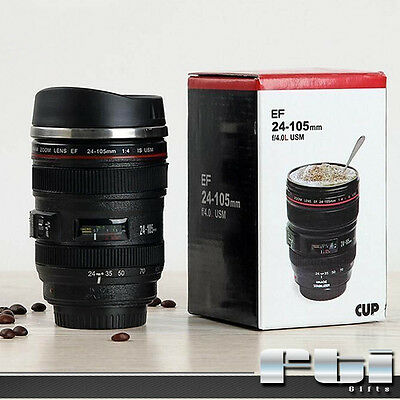 Black Camera EF 24-105mm Lens Stainless Steel Thermos Travel Coffee Tea Mug Cup