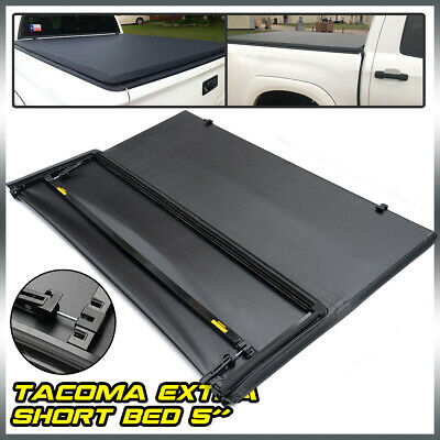 Tri-Fold Tonneau Cover 5Ft Short Bed Black Fit For 2016-2021 Toyota Tacoma Lock