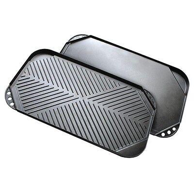 Lightweight Cast Aluminum 20 x 11 inch 2 Sided Camping Kitchen Griddle 2 Burner