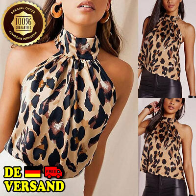 Ärmelloses Damen-top (Damen Sexy V Ausschnitt Leopardenmuster Unterhemd Ärmelloses Top BLUSE Cami DE)