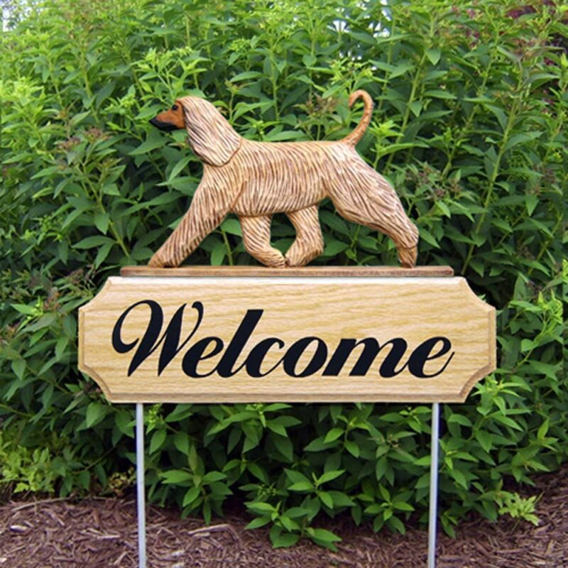 Afghan Breed Wood Welcome Outdoor Sign Fawn