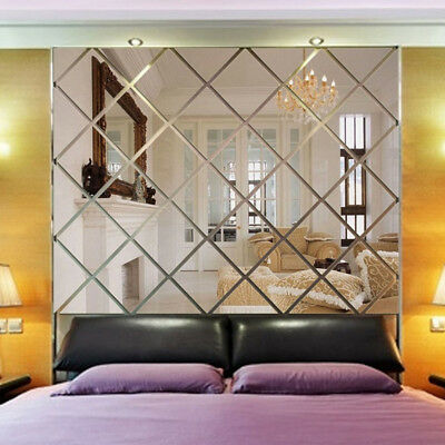 3D Lozenge Mirror Acrylic Wallpaper Living Room TV Background Decor Wall (Acrylic Wallpaper)