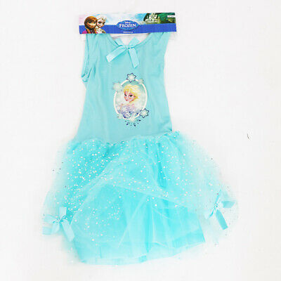GENUINE DISNEY'S FROZEN ELSA PRINCESS GIRLS BLUE FANCY DRESS OUTFIT