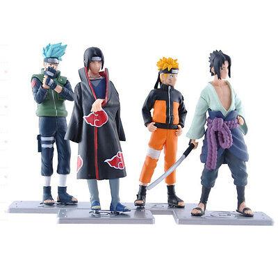 Anime Naruto Set 4x Mini Action Figures Collection Kakashi Uzumaki Itachi Gift