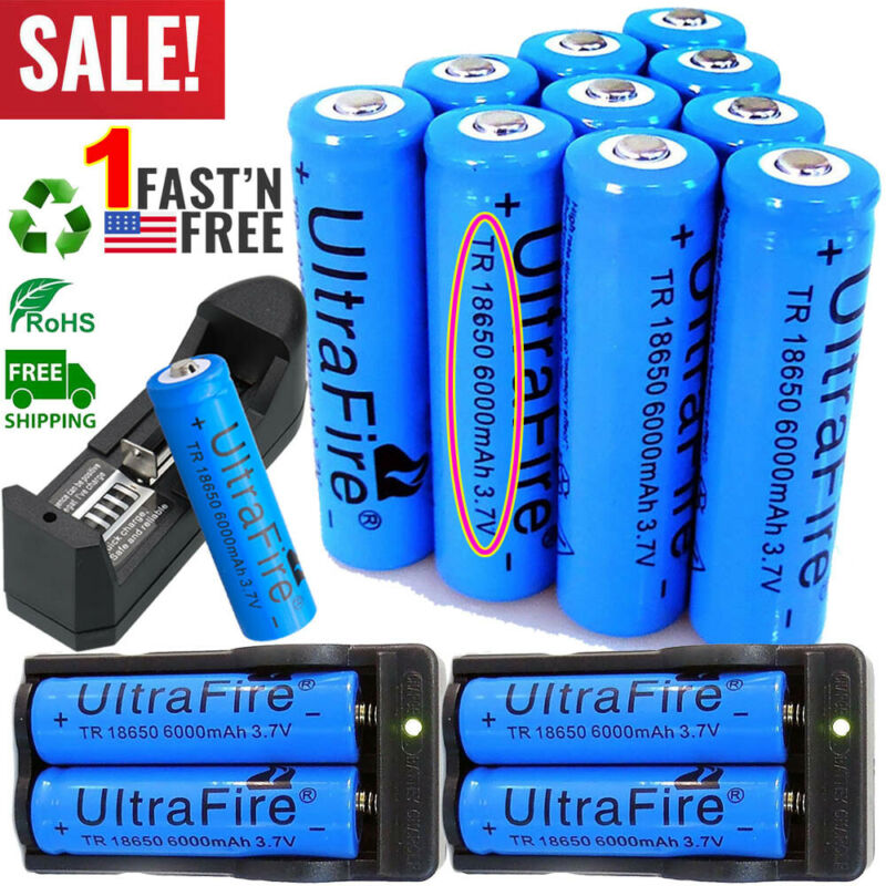 20X UltraFire 18650 Battery 3.7V 6000mAh Li-ion Rechargeable