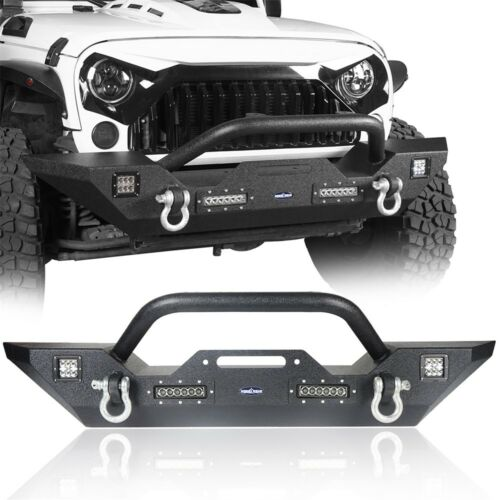 Aggressive Rock Crawler Rear Bumper For 2007-2018 Jeep Wrangler JK  Steel Carbon
