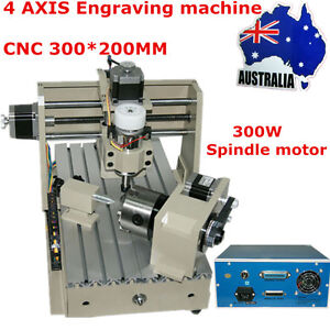 4 AXIS CNC Engraver 3020 Engraving Machine ROUTER  Drilling Milling Cutter AU