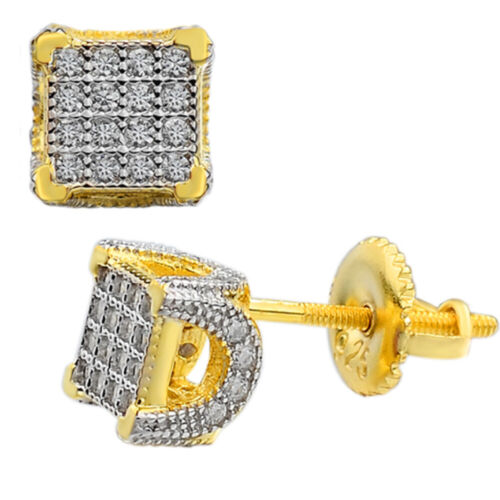 """Mens Ladies Solid 925 Silver & 14k Gold CZ Iced Earrings Studs Small 1/4"""" Square"""