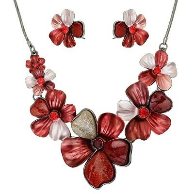 Floral Pendant Necklace Set (Flower Necklace Set Chunky Pendant Statement Floral Rhinestone Painted RED )