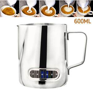 Milk Frothing Steam Pitcher Stainless Steel Espresso Art Coffee With Thermometer