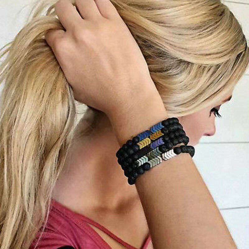 8mm Lava Rock Beads Hematite Arrow Diffuser Stone Energy Bra