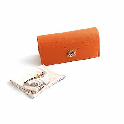 New Tory Burch Sunglasses Orange Case Authentic Sunglass Pouch Gold Eyeglasses