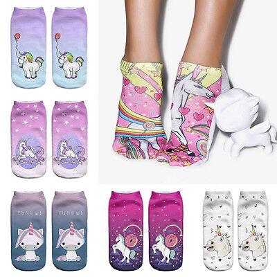 3D Print Mädchen Nette Einhorn Socken Low Cut Knöchel Frauen Boot Socke Emoji