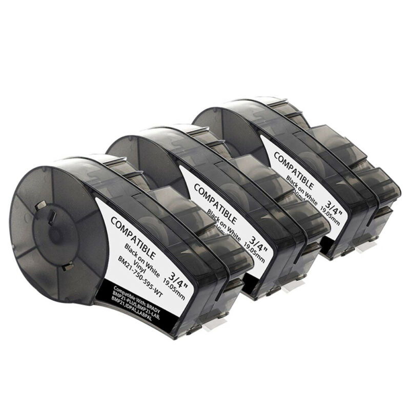 3PK Compatible for BRADY M21-750-595-WT Label Cartridge,Black/White,3/4 In. W