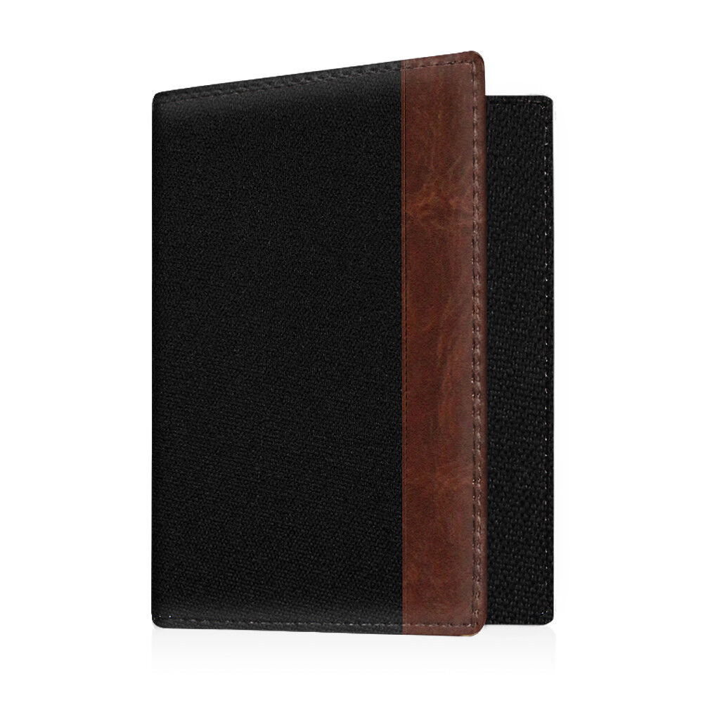 Travel Passport Holder Wallet Holder RFID Blocking Vegan Leather Card Case Cover Denim Black